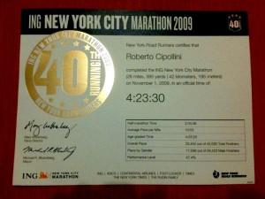 Certificato Ing New York City Marathon 2009